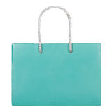 Turquoise paper bag. Isolated on white background. Flat lay Stock Images