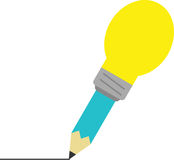 Turquoise pencil with light bulb tip drawing line. Vector turquoise pencil with yellow light bulb tip drawing line Royalty Free Stock Photo