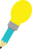 Turquoise pencil with light bulb tip. Vector turquoise pencil with yellow light bulb tip Stock Photos