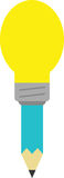 Turquoise pencil with light bulb tip. Vector turquoise pencil with yellow light bulb tip Royalty Free Stock Image