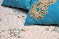 Turquoise Pillows and Bedding Royalty Free Stock Photography