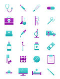 Turquoise-pink medicine icons set Stock Images