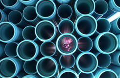 Turquoise Pipes 9. Water-Sewer Pipes Stacked and Ready For Construction Stock Photo