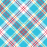 Turquoise plaid check fabric seamless pattern. Vector illustration Stock Image