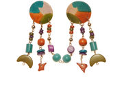 Turquoise plastic earrings; costume jewellery Stock Images