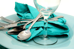 Turquoise Plate And Napkin Royalty Free Stock Photo