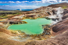 Turquoise pond on a volcanic mountain, Iceland Royalty Free Stock Photos