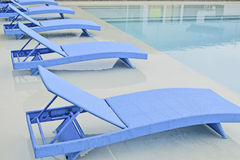 Turquoise Pool Benches Stock Photography