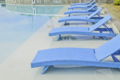 Turquoise Pool Benches Stock Photos