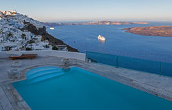 The turquoise pool of a hotel. Santorini. Greece. Royalty Free Stock Images