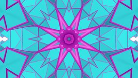 Turquoise purple kaleidoscope pattern. abstract looped. 3d rendering