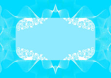 Turquoise rectangular frame with decor Royalty Free Stock Images