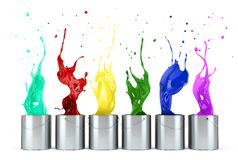 Turquoise, Red, Yellow, Green, Blue, Pink Paints Splashing Out From Metallic Silver Buckets Royalty Free Stock Image