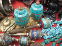 Turquoise. Religious tools and ornaments of Tibetan Buddhists Royalty Free Stock Photo