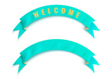 The turquoise ribbon with welcome word Stock Photography
