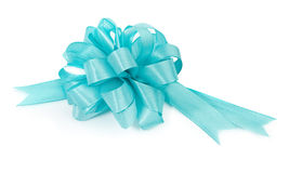 Turquoise ribbon on white Stock Photography