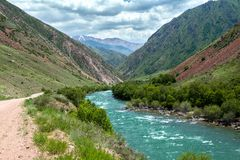 Turquoise river Kekemeren in Tien Shan, Kyrgyzstan Stock Photo