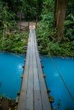 The turquoise river Rio Celeste. With a small bridge Royalty Free Stock Photos