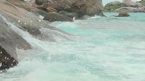Turquoise rolling wave, slow motion stock video footage