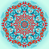 Turquoise round decorative flower ornament Stock Images