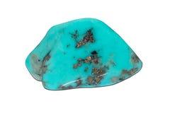 Turquoise. Sample of a beautiful Turquoise tumbled gemstone specimen on white background stock image