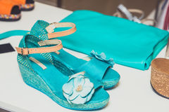 Turquoise sandals and handbag Royalty Free Stock Image