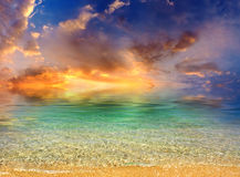 Turquoise sea. With bright sky on sundown. Natural composition and colour Stock Images