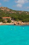 Turquoise sea. In front of the Prince's beach Spiaggia del Principe in Sardinia - Italy Royalty Free Stock Photography