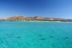 Turquoise Sea. The beautiful turquoise-coloured waters of the sea between the Elafonisos island and the mainland in Greece Royalty Free Stock Photo