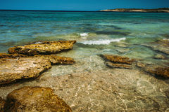 Turquoise sea bay at Majorca. Balearic island, Spain Royalty Free Stock Image