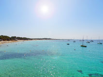Turquoise sea with boats Royalty Free Stock Photography