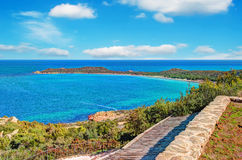 Turquoise sea in Capo Coda Cavallo Stock Images