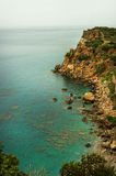 Turquoise sea with cliff and coastline in Turkey, Mediterranean region Royalty Free Stock Photography