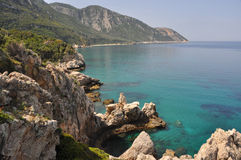 Turquoise sea at coast of samos, greece Royalty Free Stock Image