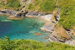 Turquoise sea Cornish Cove Stock Photo