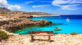 Turquoise sea of Cyprus island in Agia Napa. Royalty Free Stock Photography