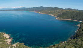 Turquoise sea of the Gurf of Ajaccio, Corsica, France Royalty Free Stock Photography