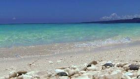 Turquoise sea, Puka beach, Boracay. Philippines stock footage
