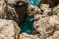 Turquoise sea and rocks. Turquoise clear sea under the rocks Royalty Free Stock Photography