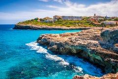 Turquoise sea at the rocky coast of Mallorca. Turquoise sea at the rocky coast of the Spanish island Mallorca, Europe Stock Photo