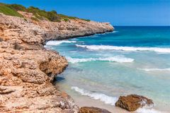 Turquoise sea at the rocky coast of Mallorca. Turquoise sea at the rocky coast of the Spanish island Mallorca, Europe Royalty Free Stock Images