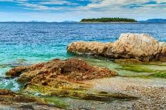 Turquoise sea and rocky coastline,Primosten,Croatia,Europe Royalty Free Stock Photography