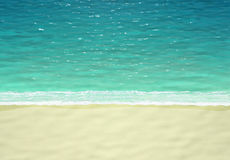 Turquoise sea and sand beach, top view Stock Photography