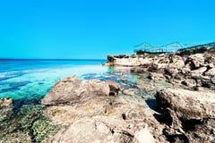 Turquoise sea / Tropical paradise wallpaper /  Mediterranean sea. Europe / rocks lagoon Royalty Free Stock Images