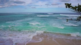 Turquoise sea view with big waves on Bali, Indonesia stock video footage
