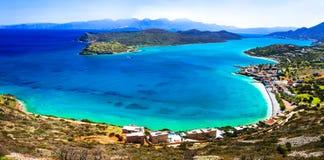 Turquoise sea and view of Spinalonga island. Crete, Greece Stock Image