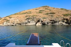 Turquoise sea water in Kolona double bay Kythnos island Cyclades Greece. Travel destinations September 2018. Horizontal stock images