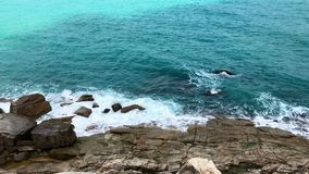 Turquoise Sea Waves Breaking at the Rocks, View from the Top. Seascape Scenic of Thailand stock video footage