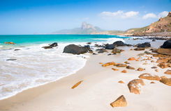 Turquoise sea white sand and rocky under sunshine very beautiful Stock Image