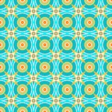 Turquoise seamless background, vector, cyan circles and yellow stars. Royalty Free Stock Photo